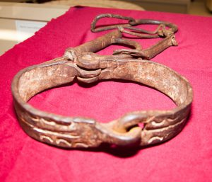 Wrought iron neck collar and wrist shackle